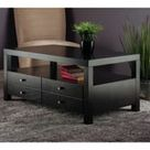 Copenhagen Scandinavian Square Console Table with Large Drawers - Espresso