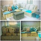Wood pallet outdoor couch- my husband built this using the wood from our boxed trees and wood pallets! Seat cushions were on clearance for under $5.00 at Target, along with all the back pillows for $9.00. The whole thing cost less than $180.00!