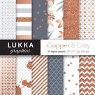 Copper and Gray digital paper pack; Rose gold and Gray digital patterns