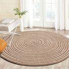 Nicole Knupfer Teppich Handmade Geflochten Rund Teppich Fur Wohnzimmer,Schlafzimmer,Badezimmer,Kinderzimmer Tatami Teppich Beige,60x60cm