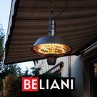 10€ Gutschein auf alles   Code PinDE2021 / Deckenheizstrahler Schwarz Elektrischer Terrassenstrahler aus Stahl 2100 Watt mit 2 Halogen Lampen Modern Beliani