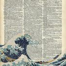 Dictionary Art - The Great Wave off Kanagawa  Poster by Anna W