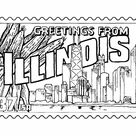 Illinois State Stamp  - US States Coloring Pages