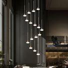 Spiral Glass Pendant Light - 28 Lights | Round Canopy Diameter 70CM | Overall Height 4.5M