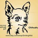 Chihuahua svg portrait clipart Chihuahua dog breed vector graphic art smiling dog cut file cuttable Chihuahua digital design head