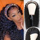 Brazilian Curly Hair Headband Scarf Wig   14inches / 150