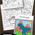 🦕 FREE Dinosaur Color by Number Printable Worksheets