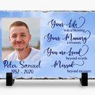 Memorial Plaque slate   Your Life, Your Memory   Keepsake Slate   Blue Sky - 7x11 Rectangle / Matte Photo Finish