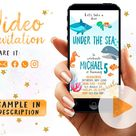 Under The Sea Invitation, Under The Sea Birthday Party, Birtrhday Theme Under The Sea, Sea Fish Party, Birthday Under The Sea Video Invite