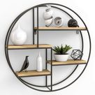 Gadgy ® Wall Shelf Round l with 4 Levels l Floating Shelves wood l 100% Natural Wood & Firm Welded Metal l Scandinavian Industrial Style l Ø 16.5 x 4 inch