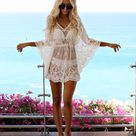 15.95US $  Fashion 2019 Summer Women Sexy Lace Beach Dress Casual V Neck Batwing Sleeve Solid Loose Dress Cape Cover Mini Dress Dresses      AliExpress