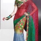 Red and Green Net Designer Wedding Lehenga Saree