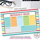 Printable Kids Weekly Planner and To Do List - Instant Download, PDF, Printable Daily Weekly Planner for Kids - Homework, School, Chores