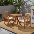 Phoenix Outdoor Acacia 2-Seater Bistro Set with Cushions and 28 Round Table with X-Legs - Teak / Cream