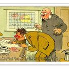 A3 Poster. Comic postcard, Drunkard signing petition to shut the