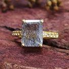 Black Rutile Quartz Solitaire Ring-Emerald Cut Black Rutilated Quartz Halo Ring-Black Rutile Vintage Engagement Ring-925 Sterling Silver-04