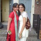 College girls in red and white salwar kameez