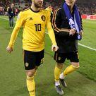 Eden Hazard and his brother Thorgan Hazard of Belgium celebrate the...