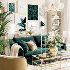 Elegante Bilderwand Botanik Poster Wohnzimmer grün Goldrahmen