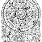 Vector illustration Zen Tangle ladybug in a flower - Mandalas Coloring Pages for Adults - Just Color