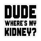 Dude Where's My Kidney Sticker by itsHoneytree