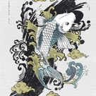 Abstract Art Zen Style Japanese Black Stroke Color Underneath The Flying Carp Koi with Black Outline