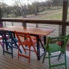 We will probably get some cushions for these, but for now, the outdoor setting is done! 4 old timber chairs, spray painted, and the table is a slab of pine from Bunnings and the frame off a set of industrial shelves. Stoked!
