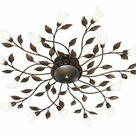 LED Decken Lampe Bätter Blüten Metall Glas rostfarbig antik Osram Licht Wohnraum