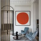 Abstract Red Sun Geometric Art Print in Minimalist Style