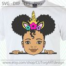 Peek a boo svg, Cute little afro girl puff with ponytails Unicorn headband svg, Peekaboo African American kids Svg cut files Dxf png Eps