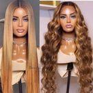 Brazilian virgin human hair ombre brown color 5*5 HD lace closure wig--HD224