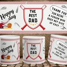 Template to sublimate the cup of baseball dad. Sports collection. Gift for Father's Day. Gift for Dad's birthday.