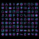NEON iOS icon Pack, Aesthetic iPhone iOS 14, Realistic Neon Light Custom Icons,  Home Screen Theme for Shortcuts, (90 icon bundle)
