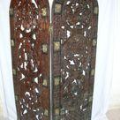 Vintage Wood Bronze Primitive Hand Carved Panel Shutter Door Wall Decor Room Divider Headboard Benin Cameroon African Art PanchosPorch