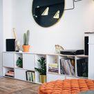 Bespoke TV stand in white plywood - modern, Scandinavian style, custom-made.