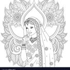 Indian girl coloring pages vector image on VectorStock