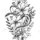 Hand drawn Snake decorated flowers and leaves isolated on white. Pencil drawing monochrome serpent and wildflowers. Floral vertical illustration in vintage style, t-shirt design, tattoo art.
