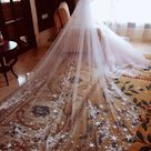 Luxury 4 Meters Full Edge with Star Lace Bling Sequins Long Wedding Veil with Comb