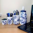 Birds in blue porcelain Mason Jar Desk Set, Decoupage Jar, Office Desk Organizer,Desk Office Decor, Office Desk Accessories, Office Supplies