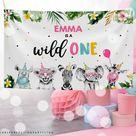 Editable Digital Download Safari Animal Wild One Backdrop Pink Gold Monochrome Safari Animal 1st Birthday Banner Sign Instant Download PS