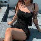 11.08US $ 39% OFF|INGOO Sexy Strap Slim Club Bandage Mini Women Dress Summer Lace Up Bodycon Sleeveless Slash Neck Party Night Dresses vestidos|Dresses|   - AliExpress