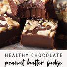 Healthy Low Sugar Chocolate Peanut Butter Fudge | Easy 3-Ingredient Fudge