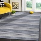 Modern Area Rugs for Indoor Outdoor Stripes - Blue / White - 8x10