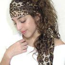 Leopard Scarf, Women Silk Scarf, Boho Headband, Shawl, Head Wrap, Hair Scarf, Headband Scarf, Boho Scarf, Fall Scarf, Lightweight Silk Scarf