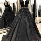 Black Prom Dress V Back, Evening Dress, Formal Dresses, Graduation School Party Dance Dress, DT0399