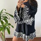 Zara contrasting embroidery tunic poplin dress XS
