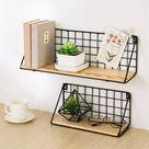 Wall Shelf Geometric Iron & Wooden Craft Wall Rack Storage Living Room Home Decor(Only Wall Shelves) - Walmart.com