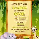Jungle Safari Birthday Invitation, Jungle Safari Party Invitation, Boy Birthday Invitation