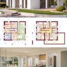 Moderne Stadtvilla weiss mit Walmdach & Putz Fassade bauen, Haus Grundriss 160 qm, gerade Treppe