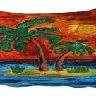 Palm Tree on the Island Painitng Pillowcase Throw Pillow Cushion Cover 20x30 inch